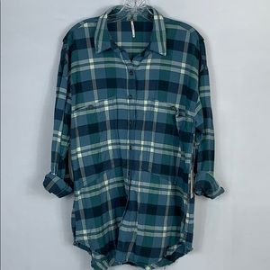 Free People Winter Sea Plaid Button-Up Shirt NWT